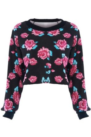 Amazon.com: Romwe Women's Red Blooming Roses Print Allover Long Sleeves Cotton Sweatshirt-Black-One Size: Clothing