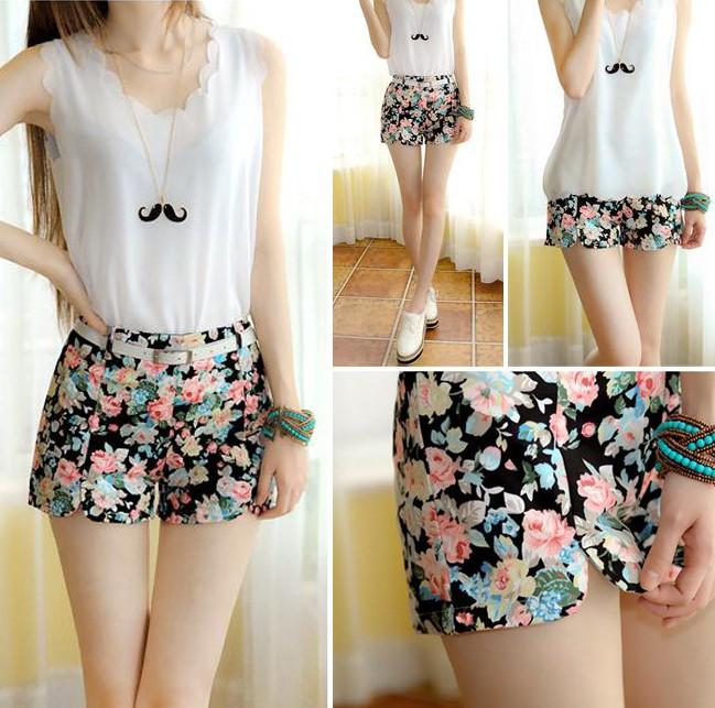 Women's Blooming Flowers Floral Print High Elastic Waist Shorts Mini Short Pants   eBay