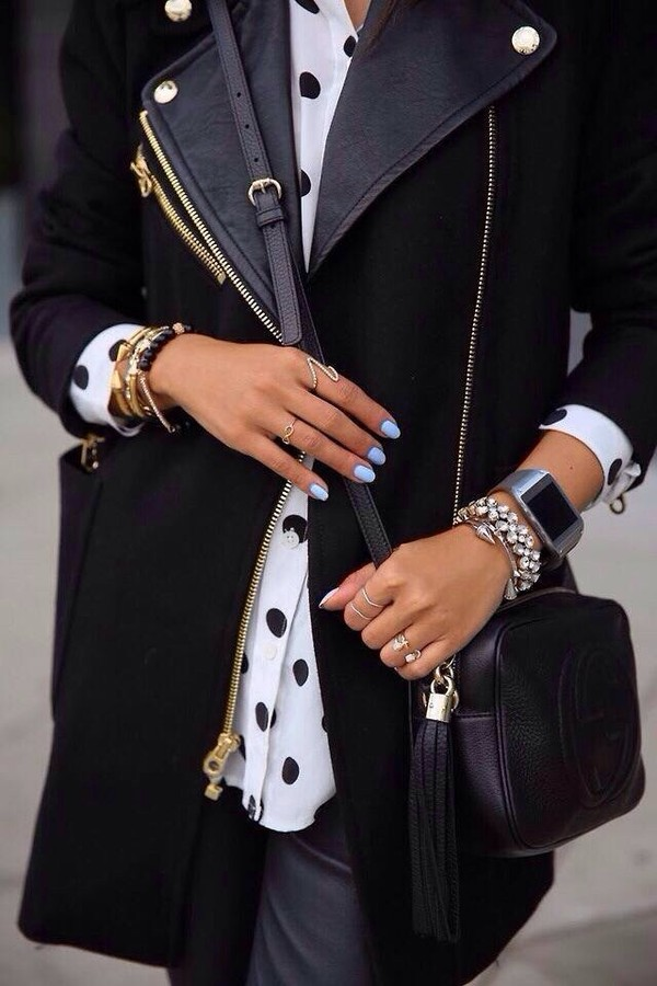 coat black bag jewels
