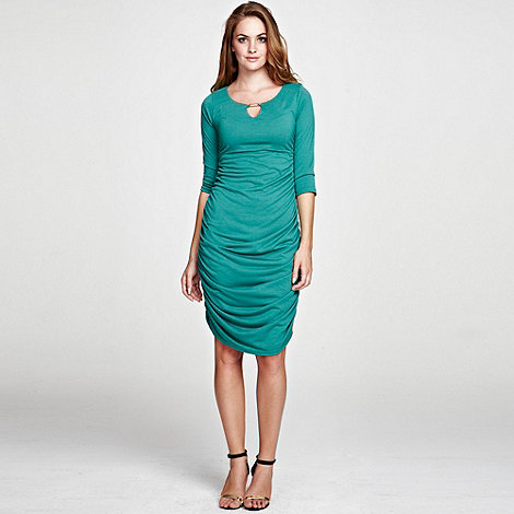 HotSquash Green Gold Bar Ruched Dress in unique ThinHeat- at Debenhams.ie