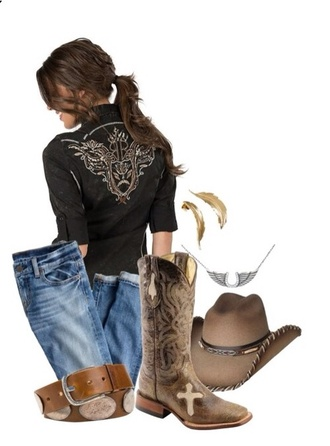 blouse country black western
