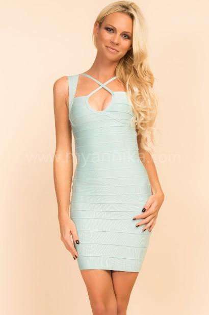 Boston - Light Blue Double Strap Bandage Dress Annika - Bandage Dresses | Celebrity Party Dresses | Herve Leger Dresses Bandage dress detail