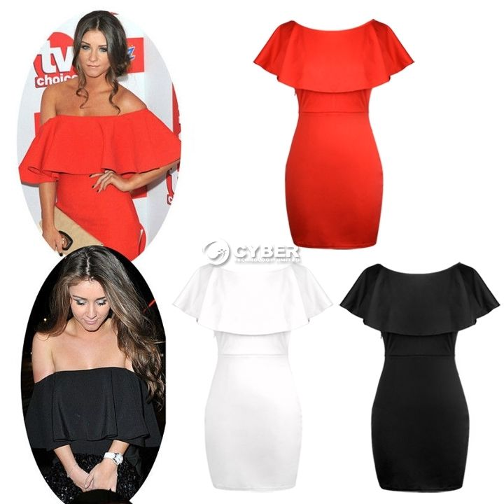 Women's Ruffle Frill Off The Shoulder Bodycon Short Mini Party Evening Dress DZ8 | eBay