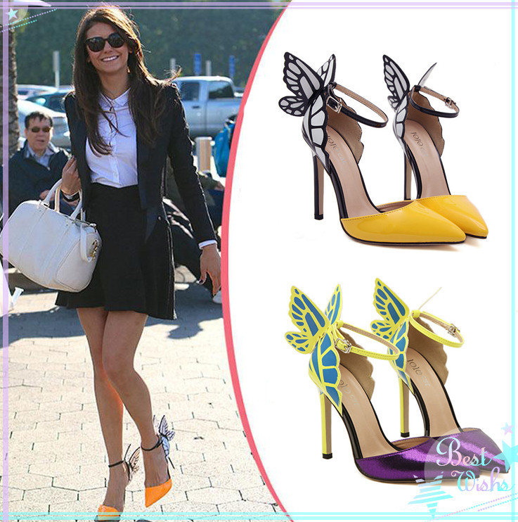 Jun2014 European Women personality wedding high heels Colorful butterfly pointed toe sandals Sophia bow patry shoes bridal pumps on Aliexpress.com