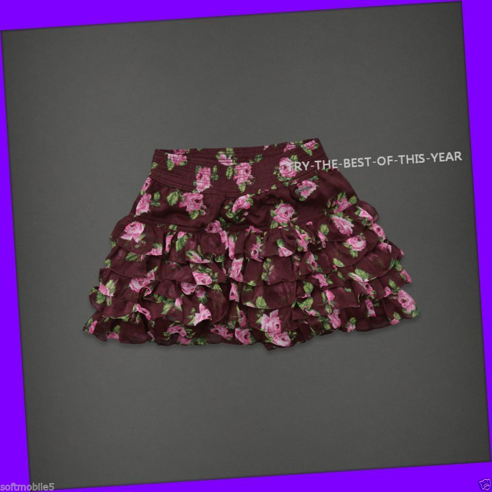 Abercrombie Fitch Womens Bettys Red Brown Pink Green Rose Flower Skirt s Small | eBay