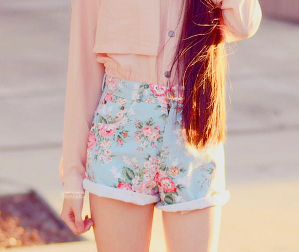 shorts flowered shorts flower shorts jewels flora denim