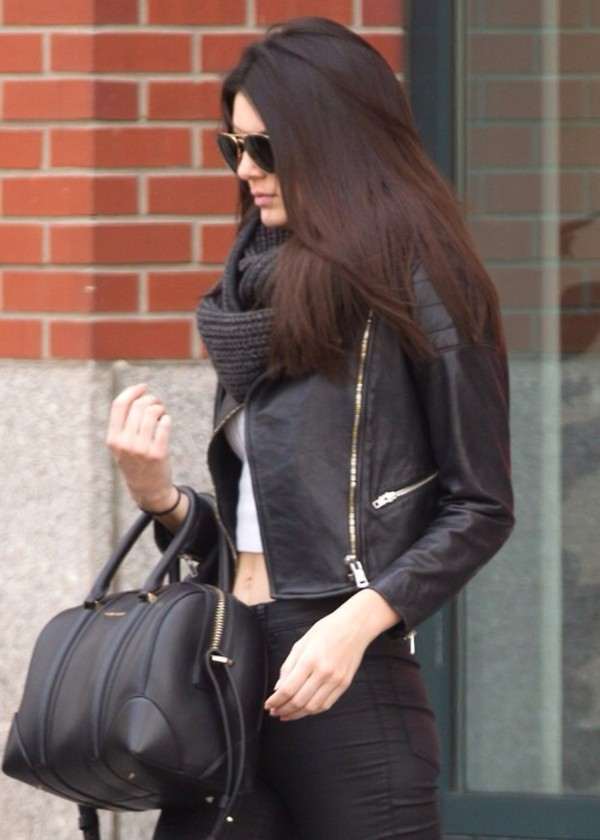 bag coat jeans scarf