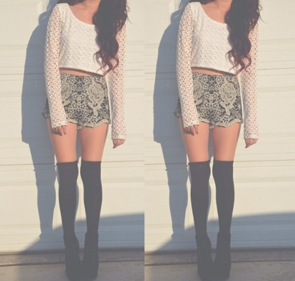 sweater white knit knitted sweater flowers flower shorts summer summer time shorts hat scarf pants
