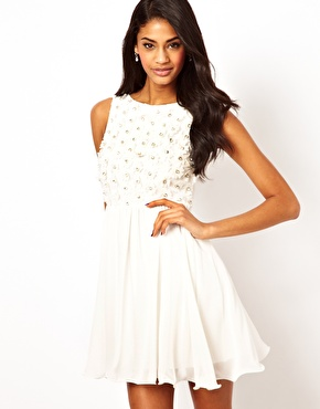TFNC   TFNC Babydoll Dress with Applique Jewels at ASOS