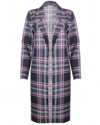 LOVE Black And Grey Tartan Long Boyfriend Jacket - In Love With Fashion