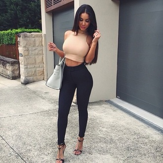 top cream pretty style pants leggings jeans high waist high waisted high waisted pants shirt black skin tight pants blouse tank top shoes bag swag crop tops cropped turtleneck nude top