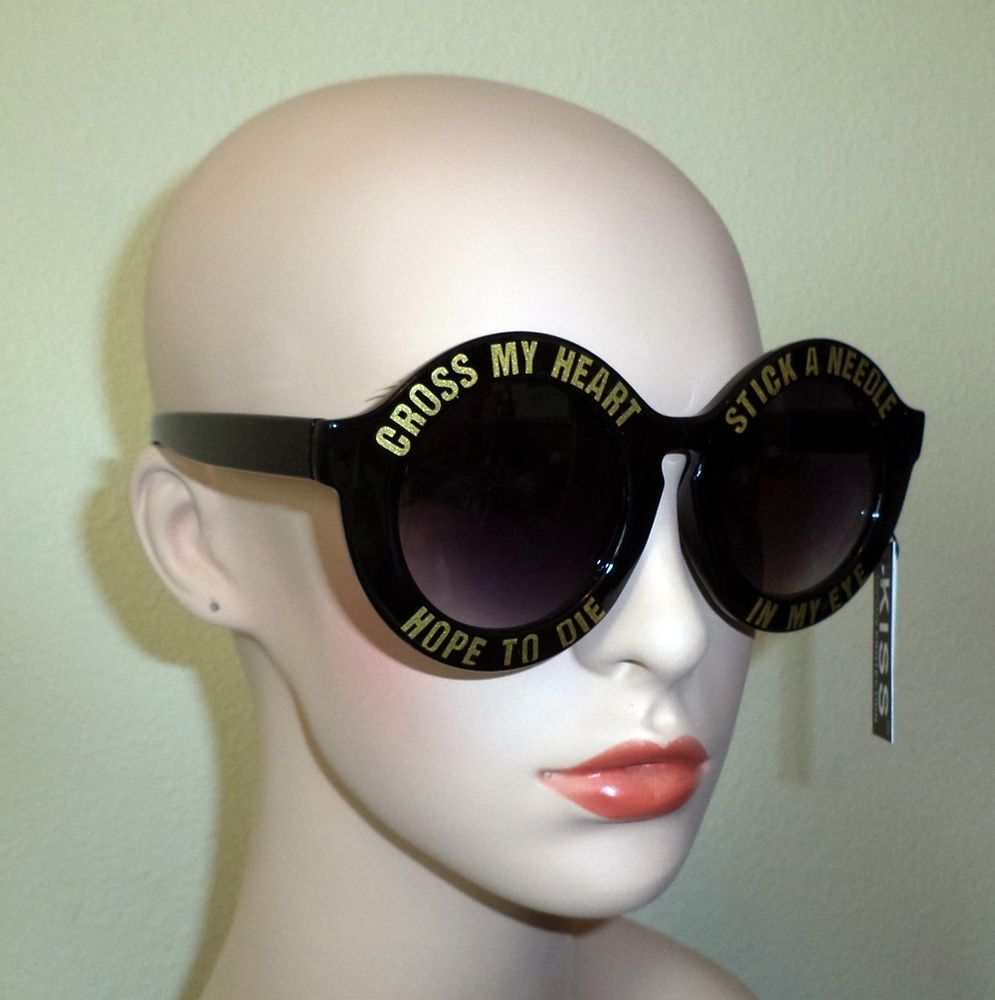 Round Cross My Heart Hope to Die Sunglasses Black w Gold | eBay