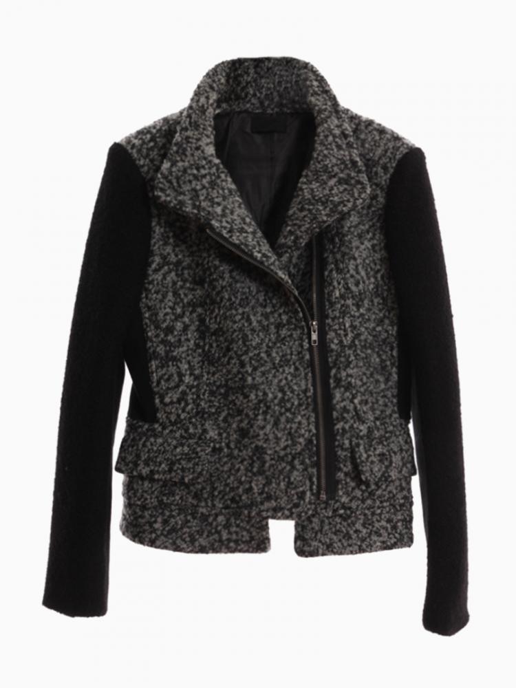 Gray Duffle Coat Contrast Panel   Choies