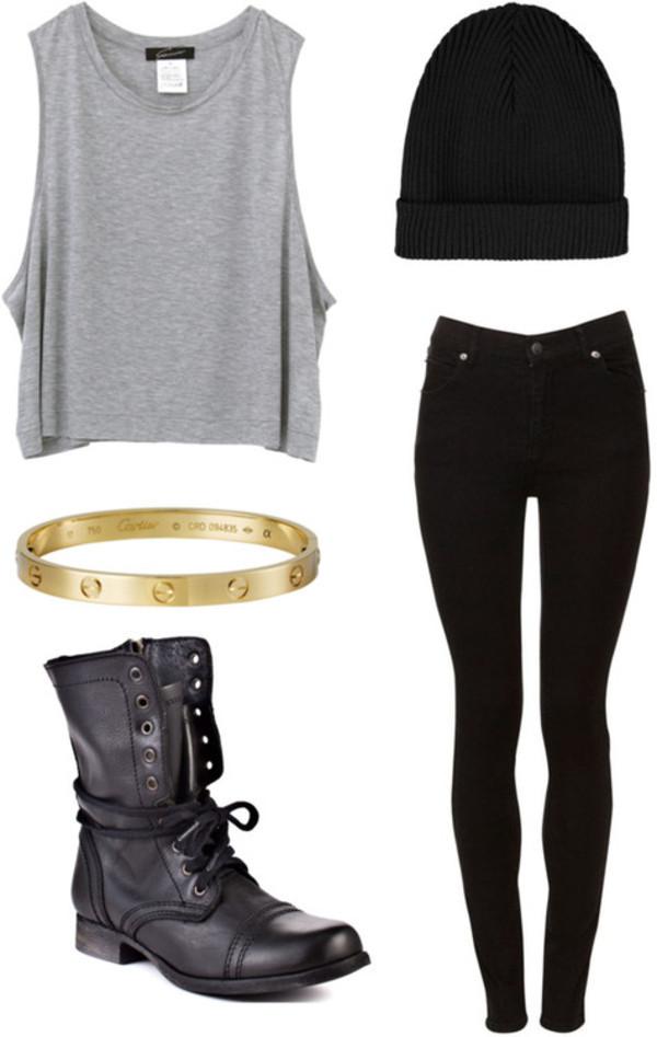 shoes cartier bracelet beanie skinny pants tank top jewels jeans shirt