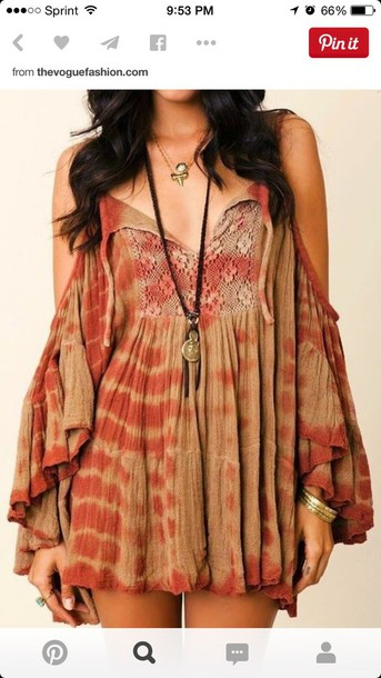 dress hippy dress brown dress hippie