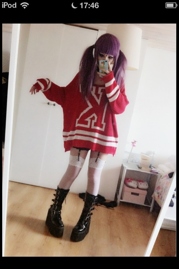 sweater kawaii kawaii dark pastel goth red sweater sweater weather japanese cute lovely it's so adorable oversized sweater tights underwear shoes