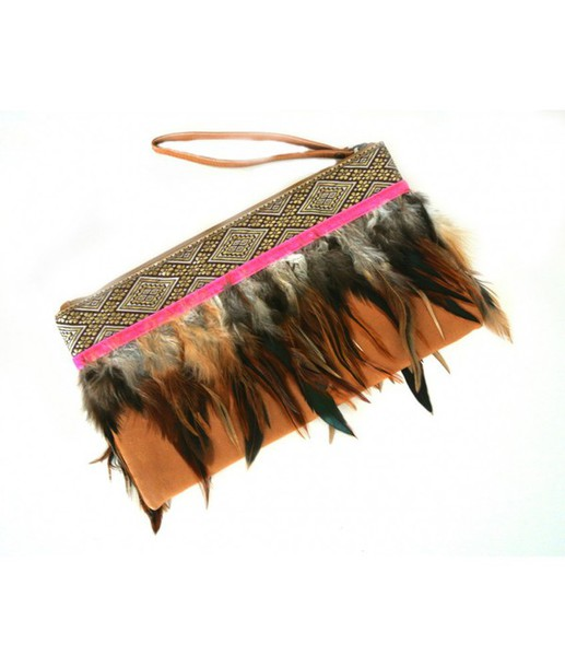 bag clutch feathers colorful colourful print native american feather clutch