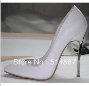 2013 new arrival leather pointed toe blade high heel pumps women metal heeled sexy party shoes-in Pumps from Shoes on Aliexpress.com