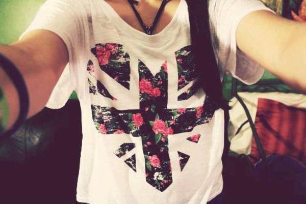 t-shirt floral floral floral t shirt shirt heart cross union jack pink roses roses heart print