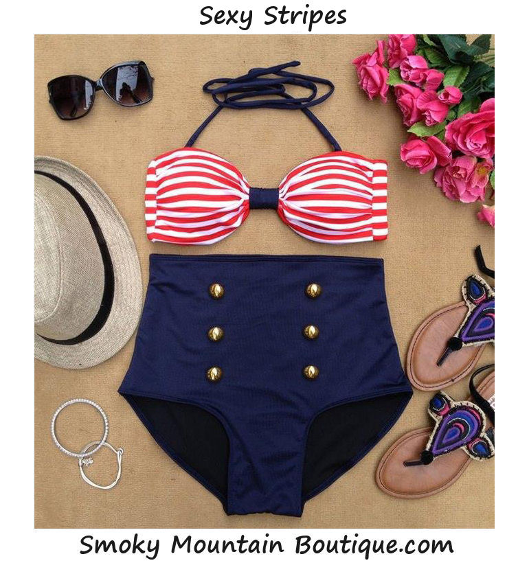 Red/White Striped Top & Blue Bottom