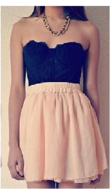dress black strapless mid-thigh light peach