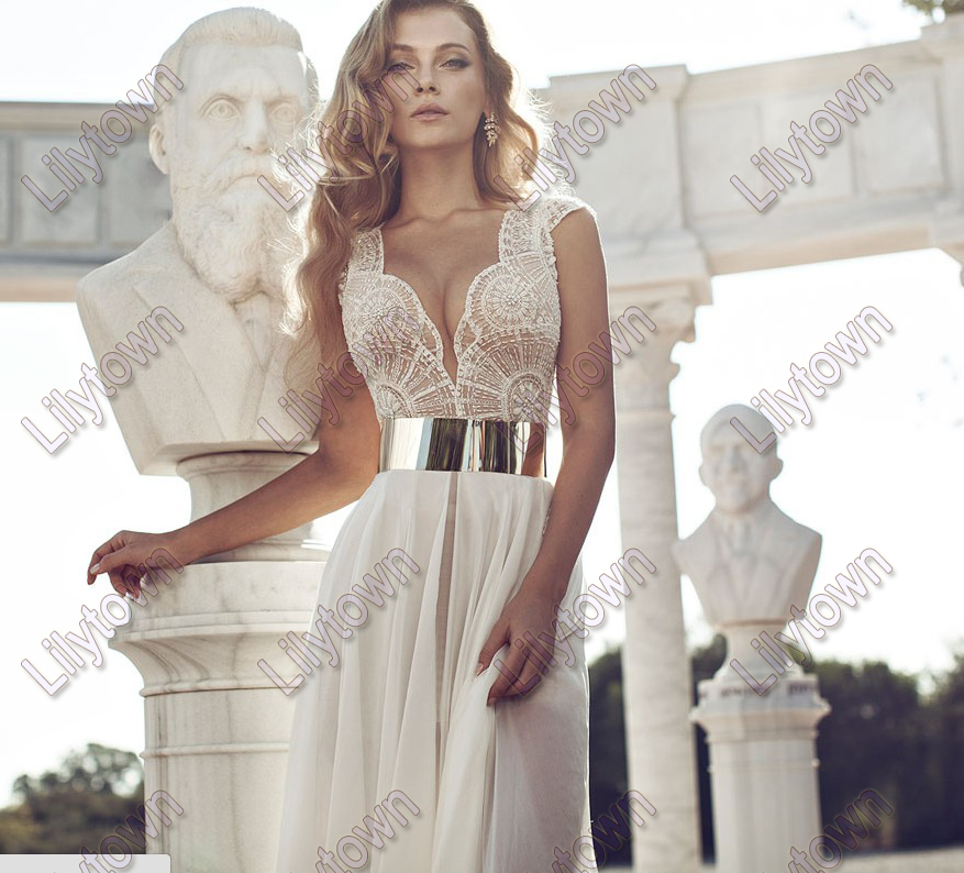 New 2014 Deep V Neck Embroidery Beaded Gold Metal Belt Chiffon Julie Wedding Dresses Designer Special Occasion Dress Multi Color-in Wedding Dresses from Apparel & Accessories on Aliexpress.com