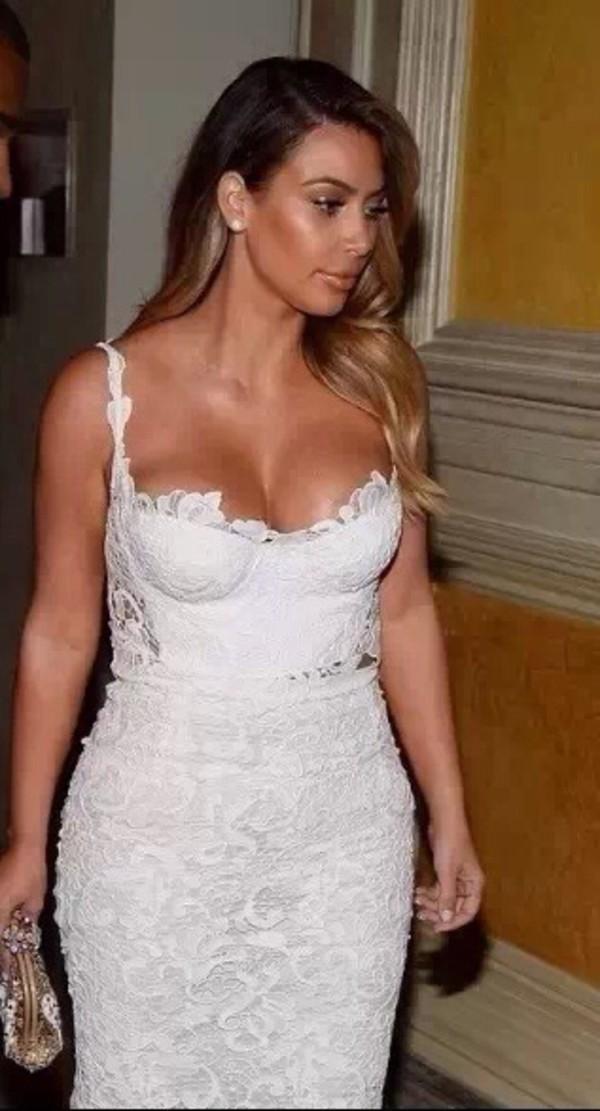 dress kim kardashian white white dress lace dress