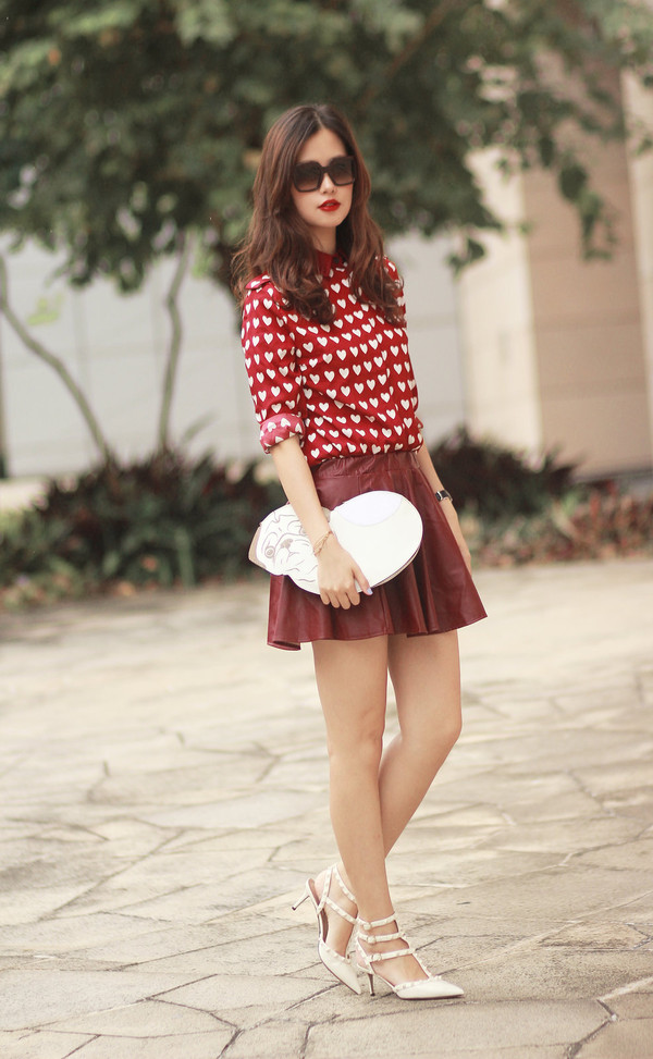 mellow mayo sunglasses shirt skirt bag shoes
