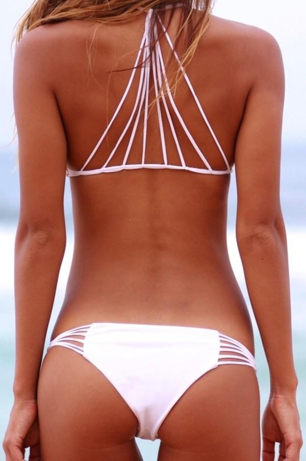white swimwear strappy bikini white bikini
