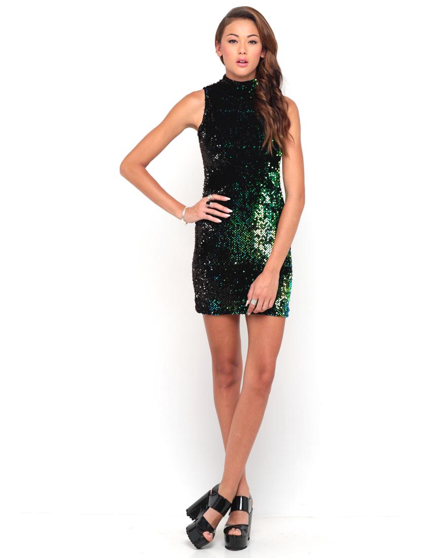 Buy Motel Zabby Turtleneck Dress in Blue Green Sequin in Black at Motel Rocks