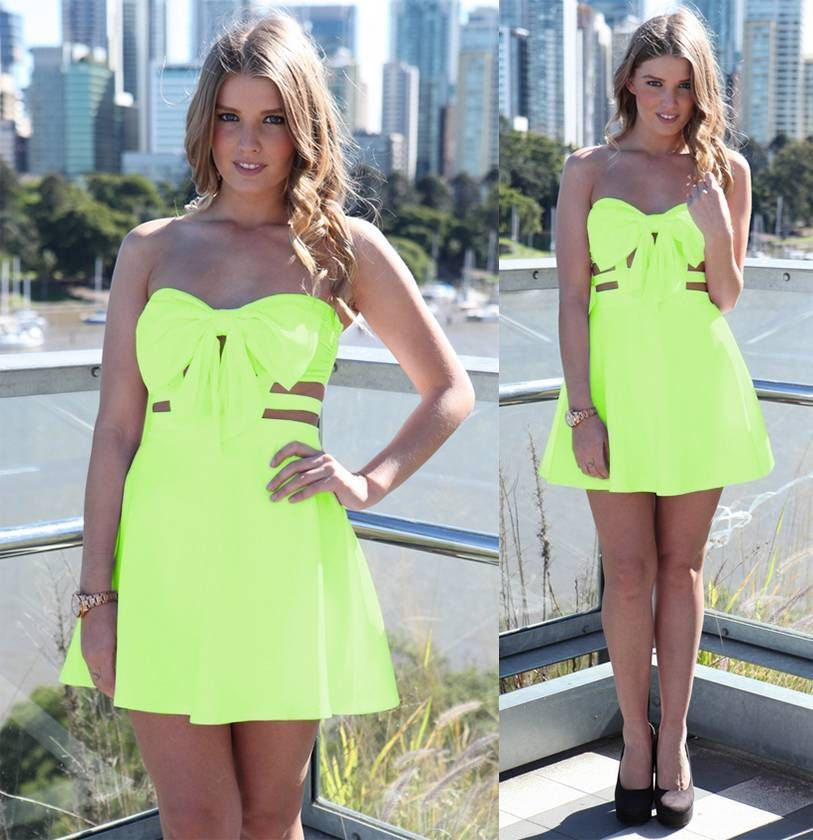 Neon Lime Yellow Sweetheart Front Bow Cut Out Caged Flared A Line Mini Dress | eBay
