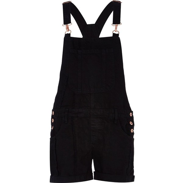 River Island Black denim dungarees - Polyvore