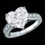 Engagement Ring - Heart Shape Diamond Cathedral Engagement Ring diamond band 0.18 tcw. In 14K White Gold - ES140HS