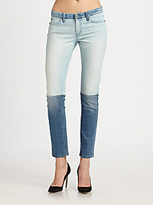 MiH Jeans - Low-Rise Colorblock Skinny Jeans - Saks Fifth Avenue Mobile
