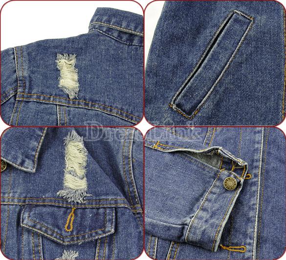 Korean Women's Ladies Fashion Clothes Long Sleeve Frayed Jeans Tops Jacket Denim Coat