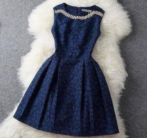 dress mini dress blue dress