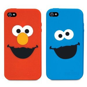 iSound ISOUND-4668 Sesame Street Elmo and Cookie Monster Silicone Case for iPhone 4/4S - 2 Pack - Retail Packaging - Red/Blue on Wanelo