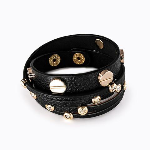 Studded Leather and Crystal Bracelet