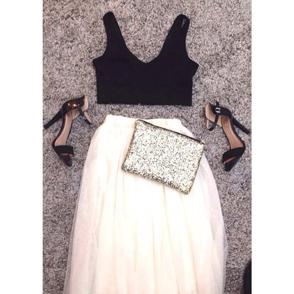 skirt fashion style cute skirt sparkle clutch pretty purse purse white skirt fashionista gorgeous outfit tulle skirt shopaholic gorg