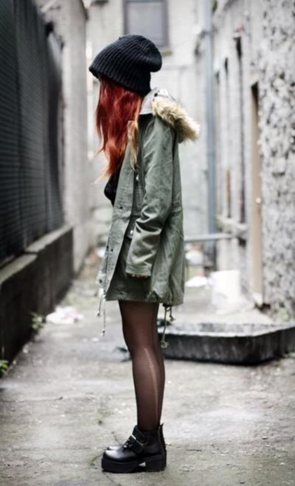 coat beanie army green jacket army green olive green fur faux fur tights ripped leggings black red hair hipster goth hipster grunge soft grunge shoes black grunge flat grunge shoes girly grunge grunge boho bohemian le happy