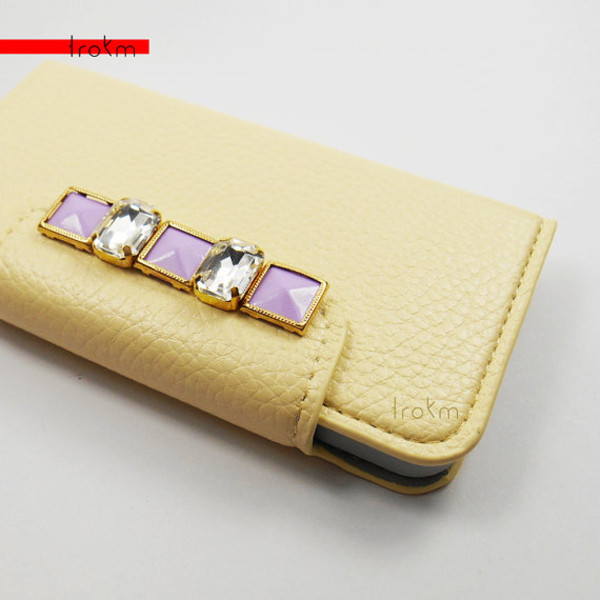 bag gems lavender pastel pastel goth studs gold baby yellow iphone 5 case wallet phone case
