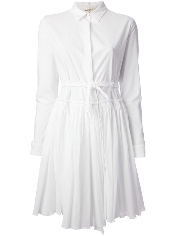 dress hache pleated dress white dress