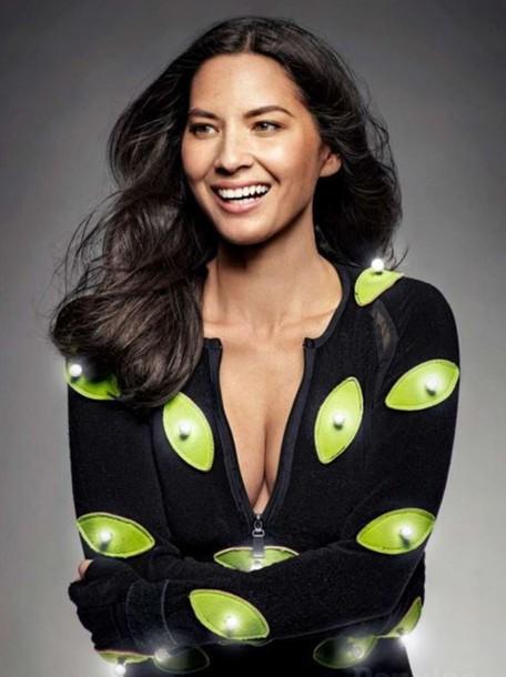olivia munn long sleeves neon top