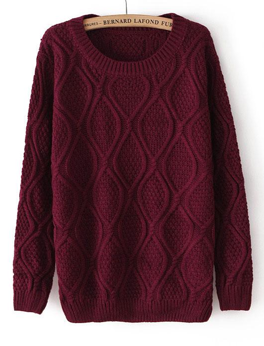 Dark Red Long Sleeve Diamond Patterned Pullover Sweater - Sheinside.com