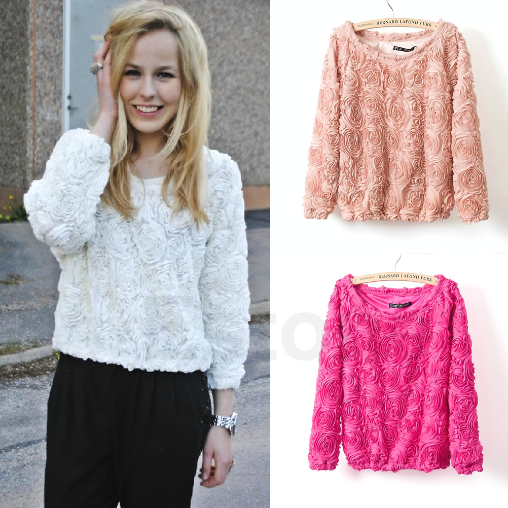 Stylish Vintage 3D Rose Flower Mesh Pullover Jumper Sweater Blouse 3 Colors M L   eBay