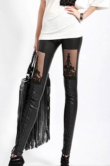 Punk Style Leather Stitching Lace Sexy Leggings [FBBI0097]- US$ 30.99 - PersunMall.com