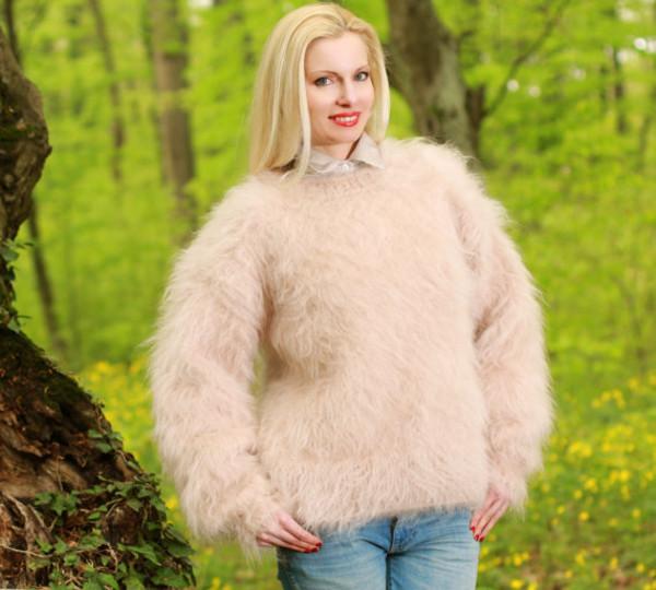 sweater hand knit made mohair blouse jumper pullover supertanya soft fluffy fluffy angora cashmere alpaca wool