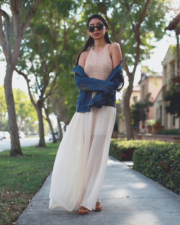 honey and silk dress jeans jacket sunglasses shoes jewels