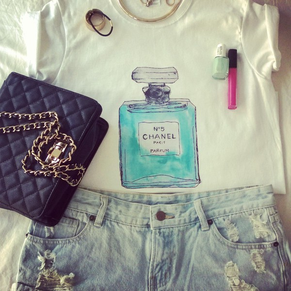 t-shirt chanel chanel perfume bottle aqua blue aquamarine ripped shorts t-shirt blouse top rolled sleeves denim shorts perfume shaped perfume bottle tumblr ootd lotd cute girly
