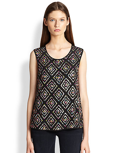 Joie - Messana Silk Sequin-Patterned Top - Saks.com